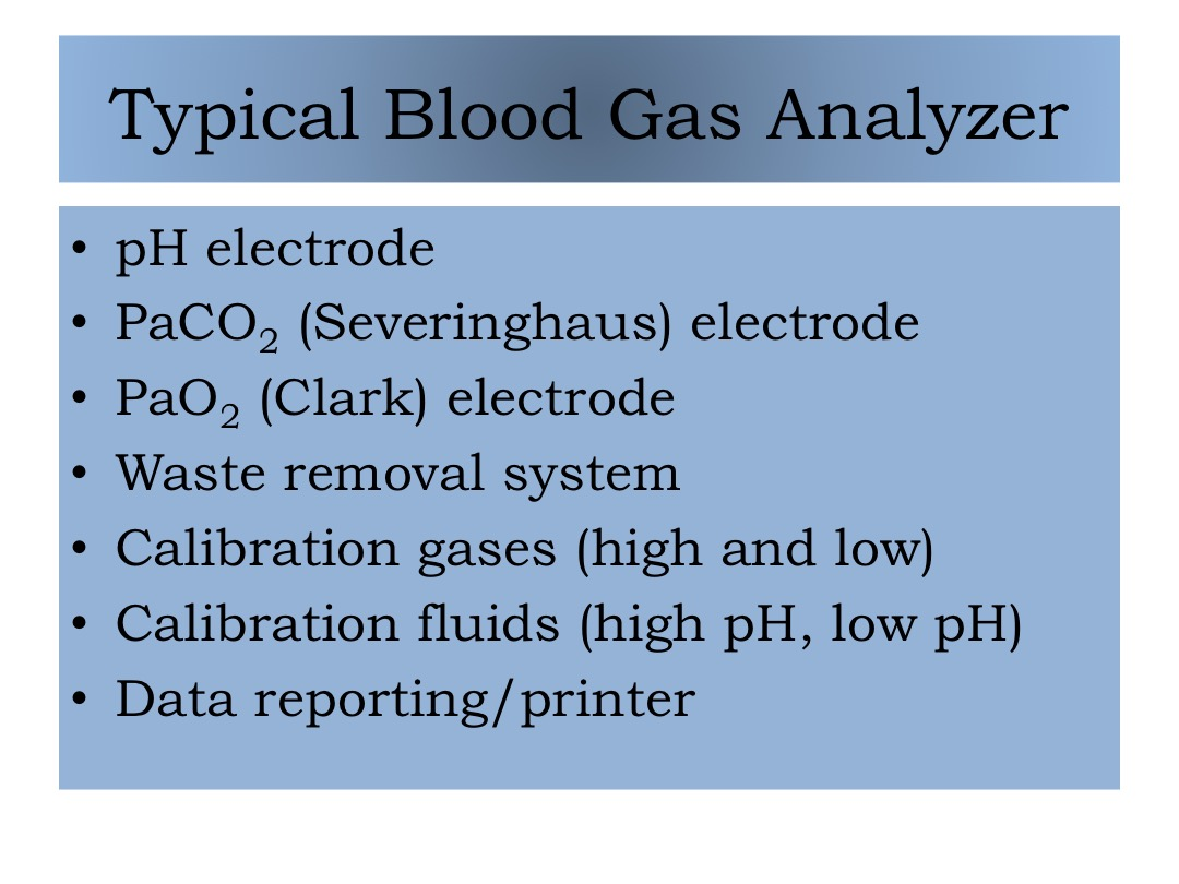 Typical Blood Gas Analyzer slide image